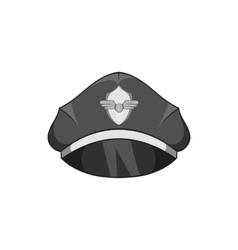 Cap pilot icon black monochrome style vector