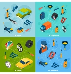 Car repair and tuning isometric icons vector
