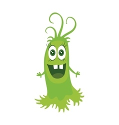Cartoon green monster funny smiling germ vector