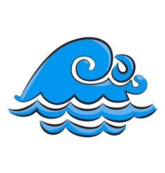 Cartoon image of wave icon water wave symbol vector