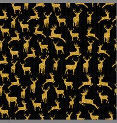 christmas gold glitter deer xmas seamless pattern vector image
