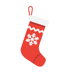 christmas stocking flat icon new year vector image vector image