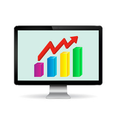 computer display with graph vector image vector image