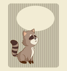 cute raccoon poster image vector image vector image