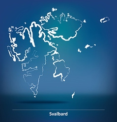 Doodle map of svalbard vector