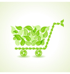 eco shopping cart with group of green leaf stock vector image vector image