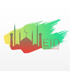 Elegant eid festival greeting with mosque and ink vector