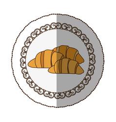 Emblem croissant bread icon vector