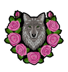 embroidery wolf and roses patch vector image vector image