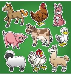 Farm animals cartoon set vector