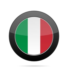 Flag of Italy Shiny black round button vector image