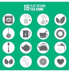 Flat design tea icons set vector image