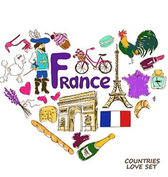 French symbols in heart shape concept vector image vector image
