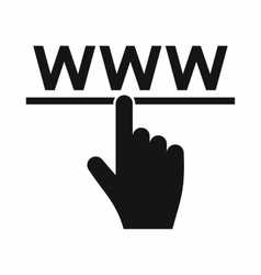 Hand cursor and website icon simple style vector image