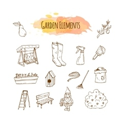 Hand drawn garden tools spring vector