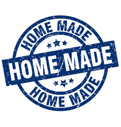 Home made blue round grunge stamp vector