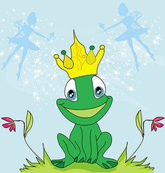 Little fairies and frog vector