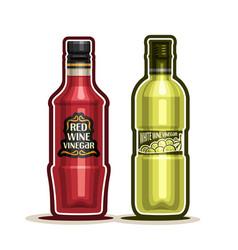 Red and white wine vinegar bottles vector