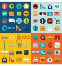 Set of fashion flat icons vector