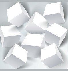 Set of white 3d cubes structure over white vector