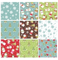 Set of winter Holiday seamless background vector image vector image