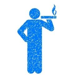 Smoking man grainy texture icon vector