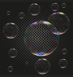 soap water bubbles on dark backdrop vector image vector image