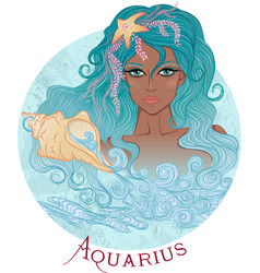 Astrological sign of aquarius as a african girl vector