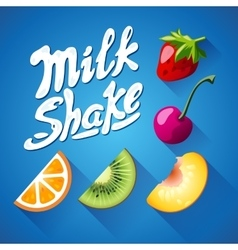 Set of lettering milkshake sign with strawberry vector