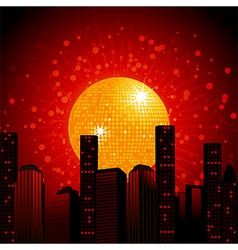 Golden disco ball over abstract cityscape vector image