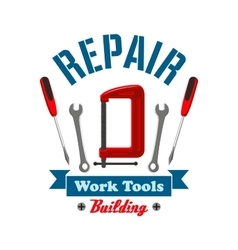 Repair work tools label emblem vector