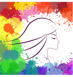 Face of beautiful girl makeup artist logo vector