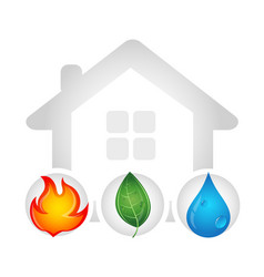 Fire water drop and green leaf design vector