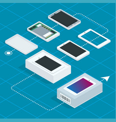 assembly of the phone isometric vector image