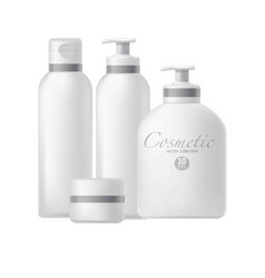 cosmetic pacakges tubes jars and bottles vector image