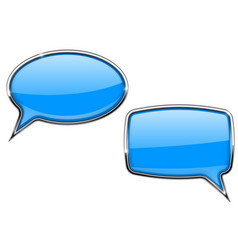 blue speech bubbles round and square 3d icons vector image