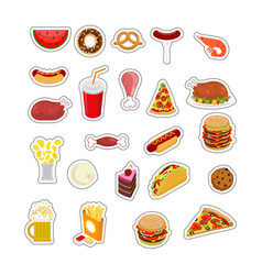Food sticker set signs meat feed icon collection vector