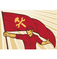 Worker holding a flag - industry poster vector