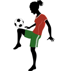 Silhouette of a teenage girl playing football vector image