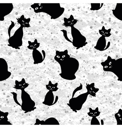 Seamless background with cats silhouettes vector