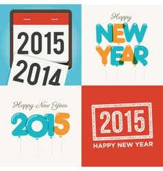 Happy new year card set vector