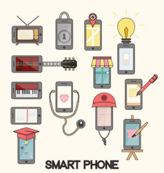 Isolated smartphone functions for life vector