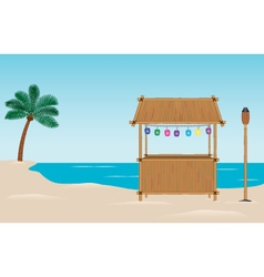 Bamboo tiki bar on the beach vector