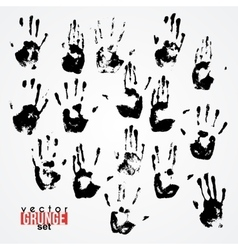 Set of traced ink handstamps blots grunge vector