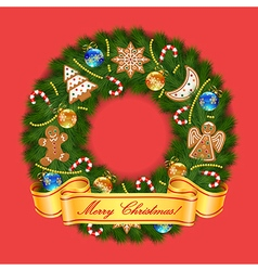 Christmas wreath on red background vector