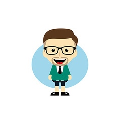 Geek cartoon nerd character vector