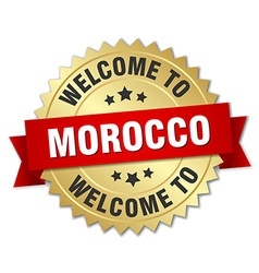 Morocco 3d gold badge with red ribbon vector