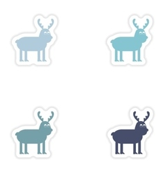 Set of paper stickers on white background vector