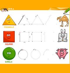 basic geometric shapes drawing worksheet vector image vector image