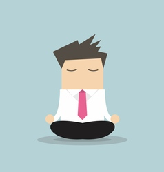 Businessman yoga relaxing during hard workday vector